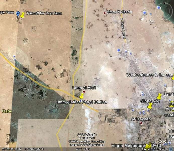 Google earth map to oryx farm qatar natural history group google earth map to oryx farm gumiabroncs Choice Image